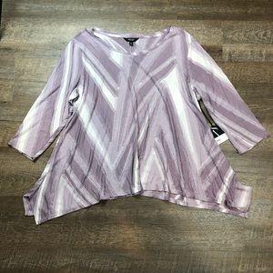 Simply Vera Vera Wang Textured 3/4 Sleeve Top 1X